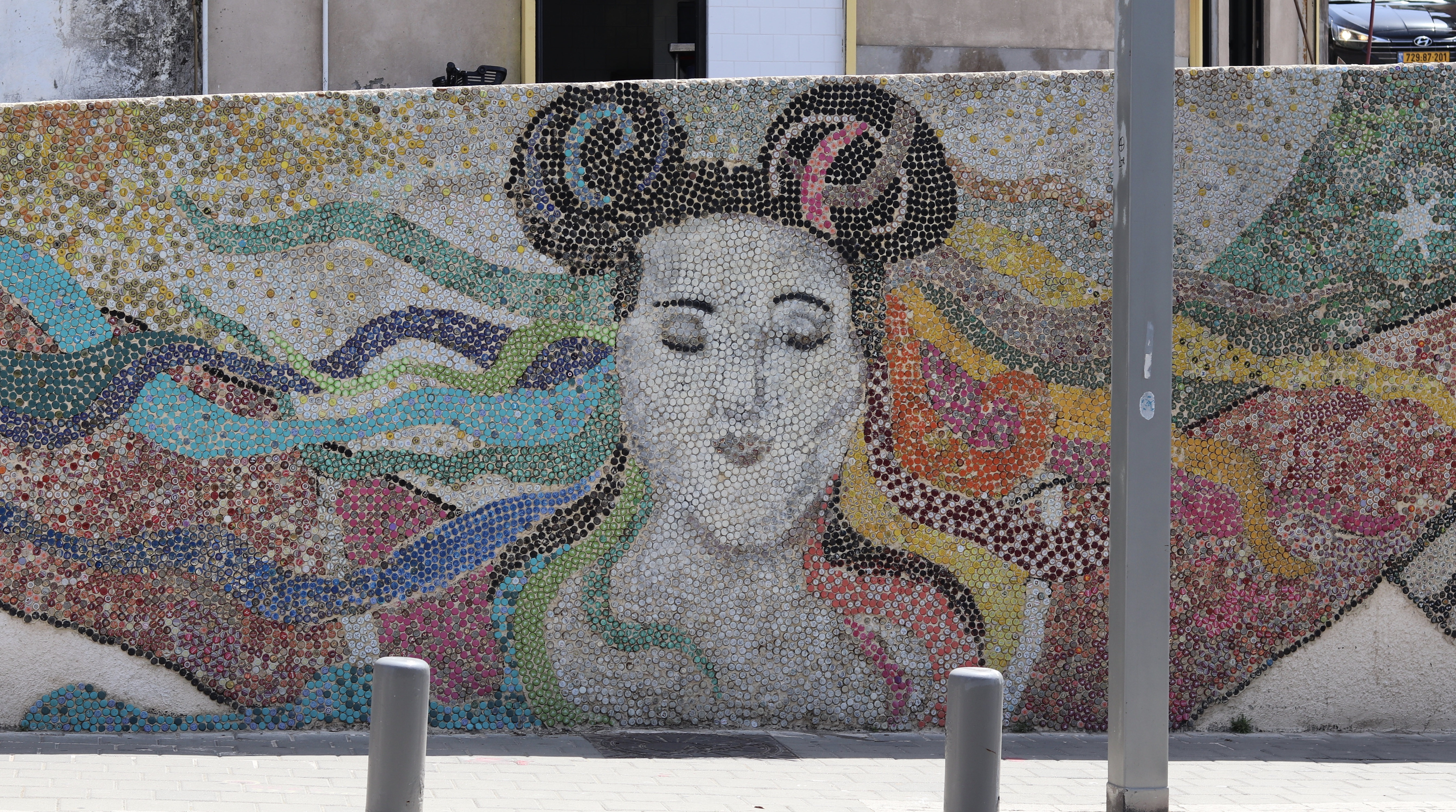 Netta Mural made out of bottle tops