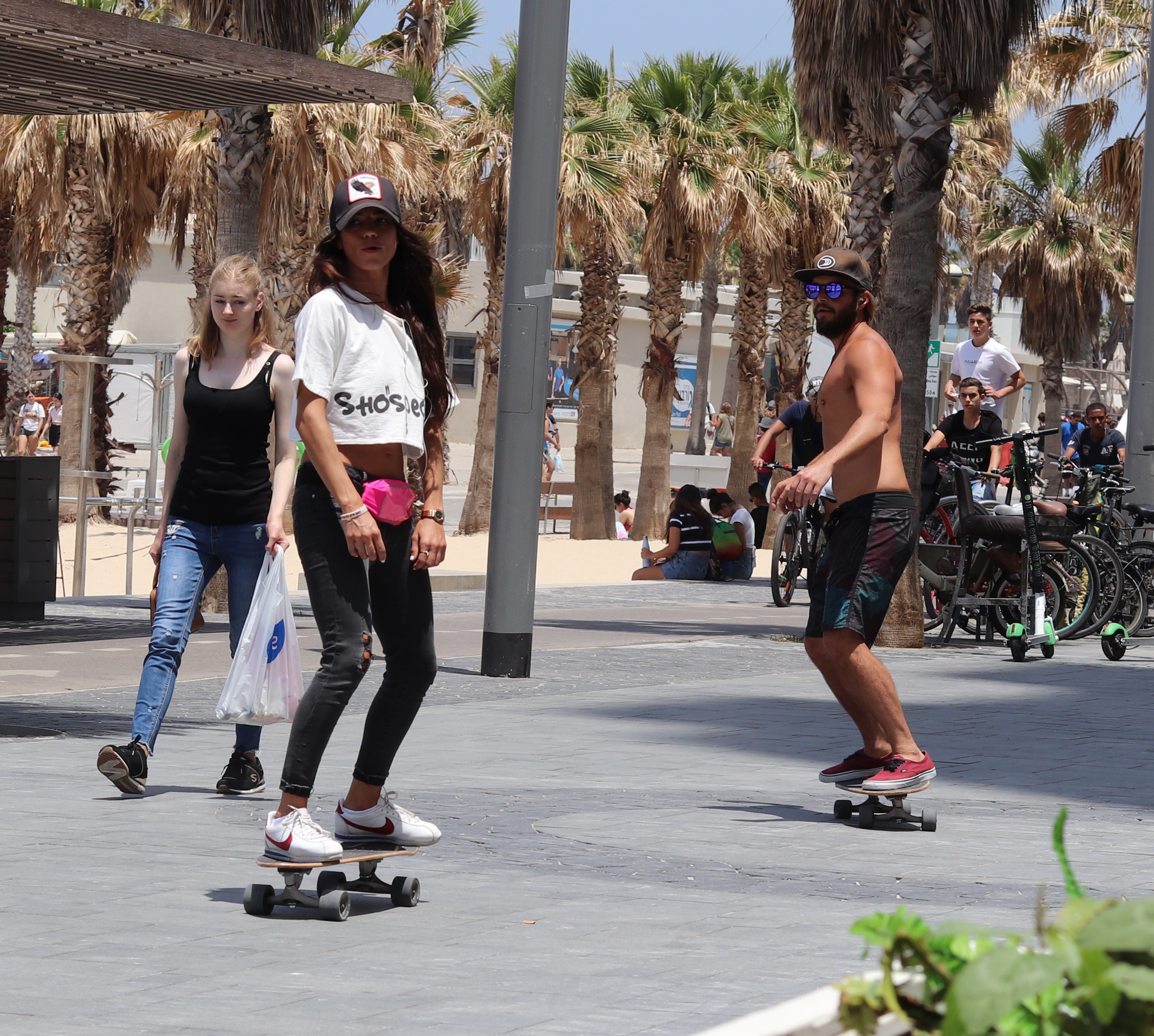 Skateboarders on the Promenade of Gordon Beach, Tel Aviv