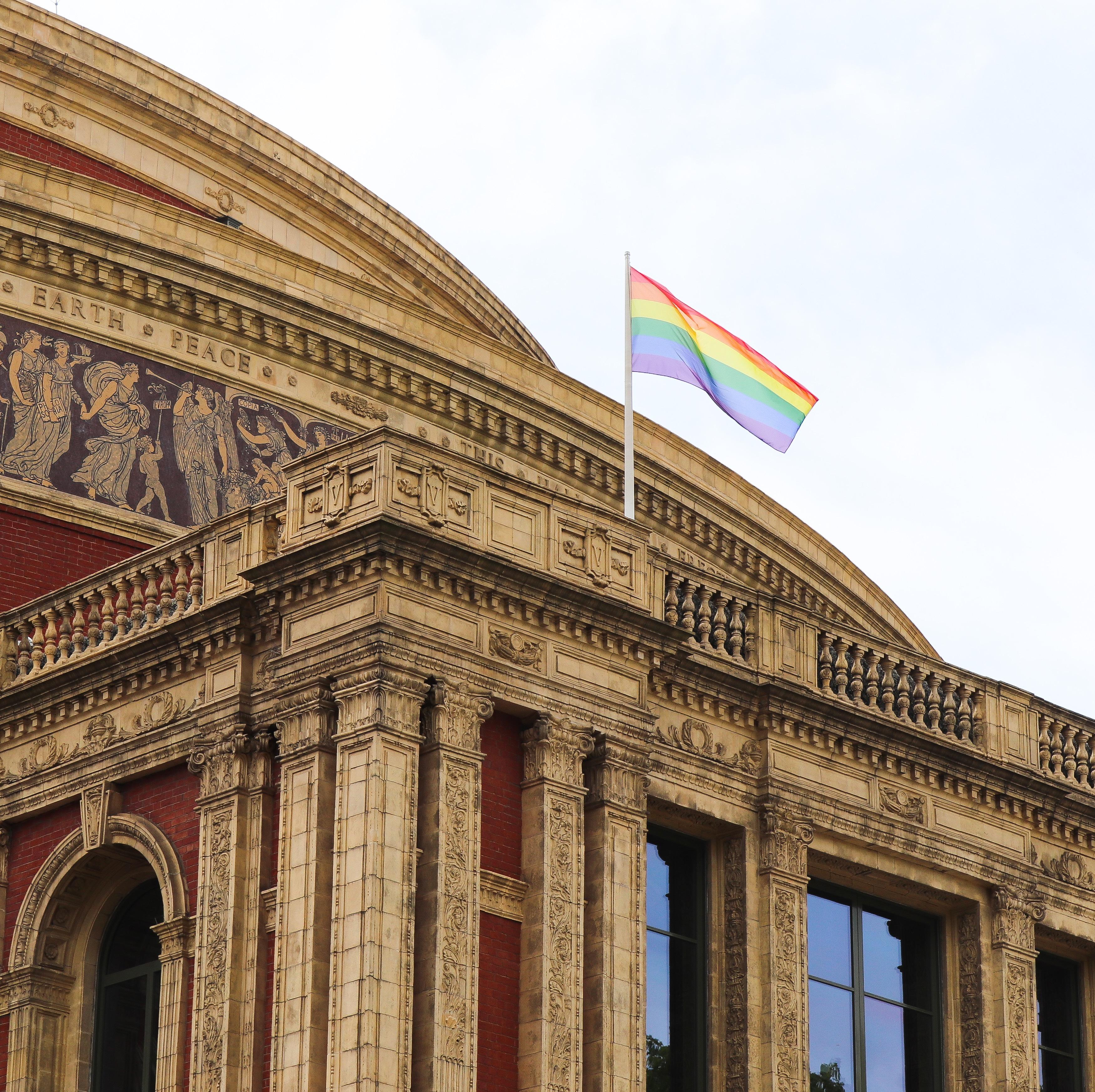 Pride flag flying above Royal Albert Hall