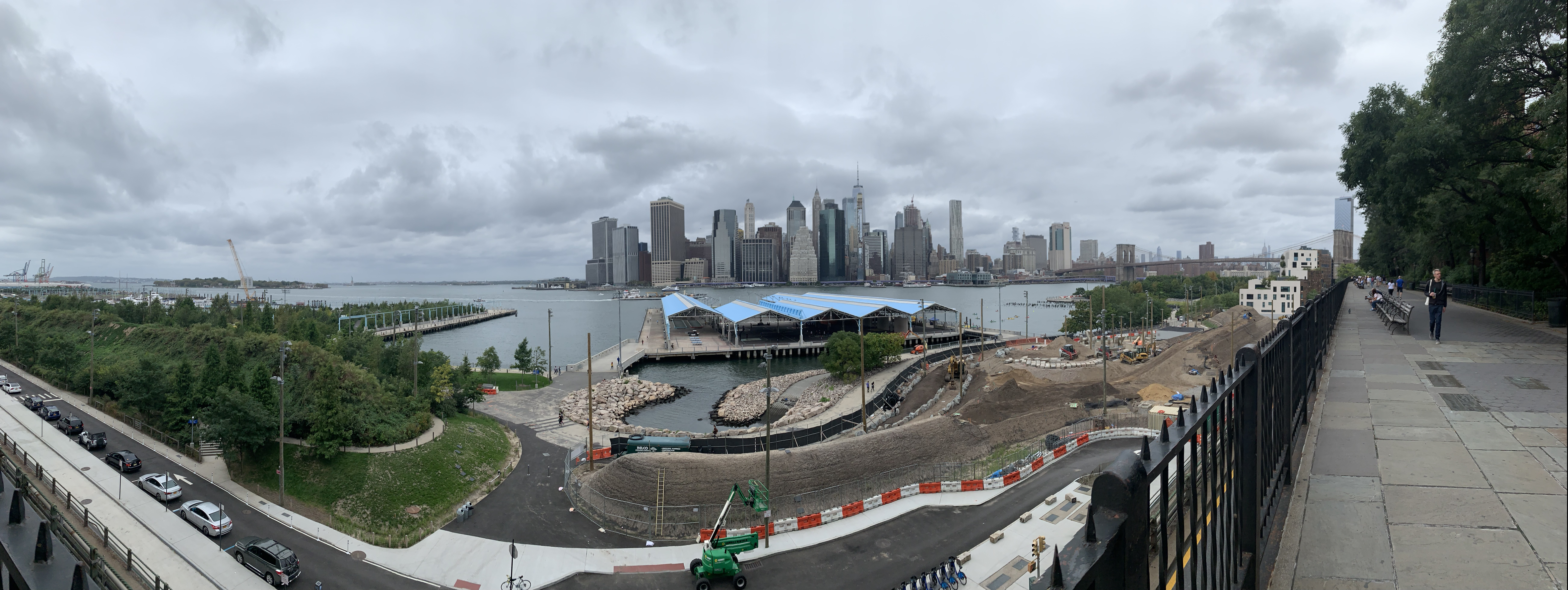 A Panoramic view from Brooklyn Heights with Lower Manhattan in the distance.