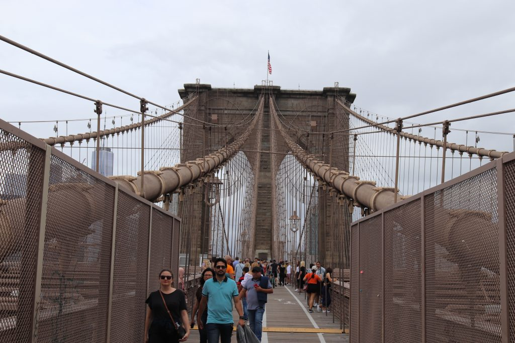 A view of the eastern pillar, Brooklyn Bridge from the pedestrian pathway.