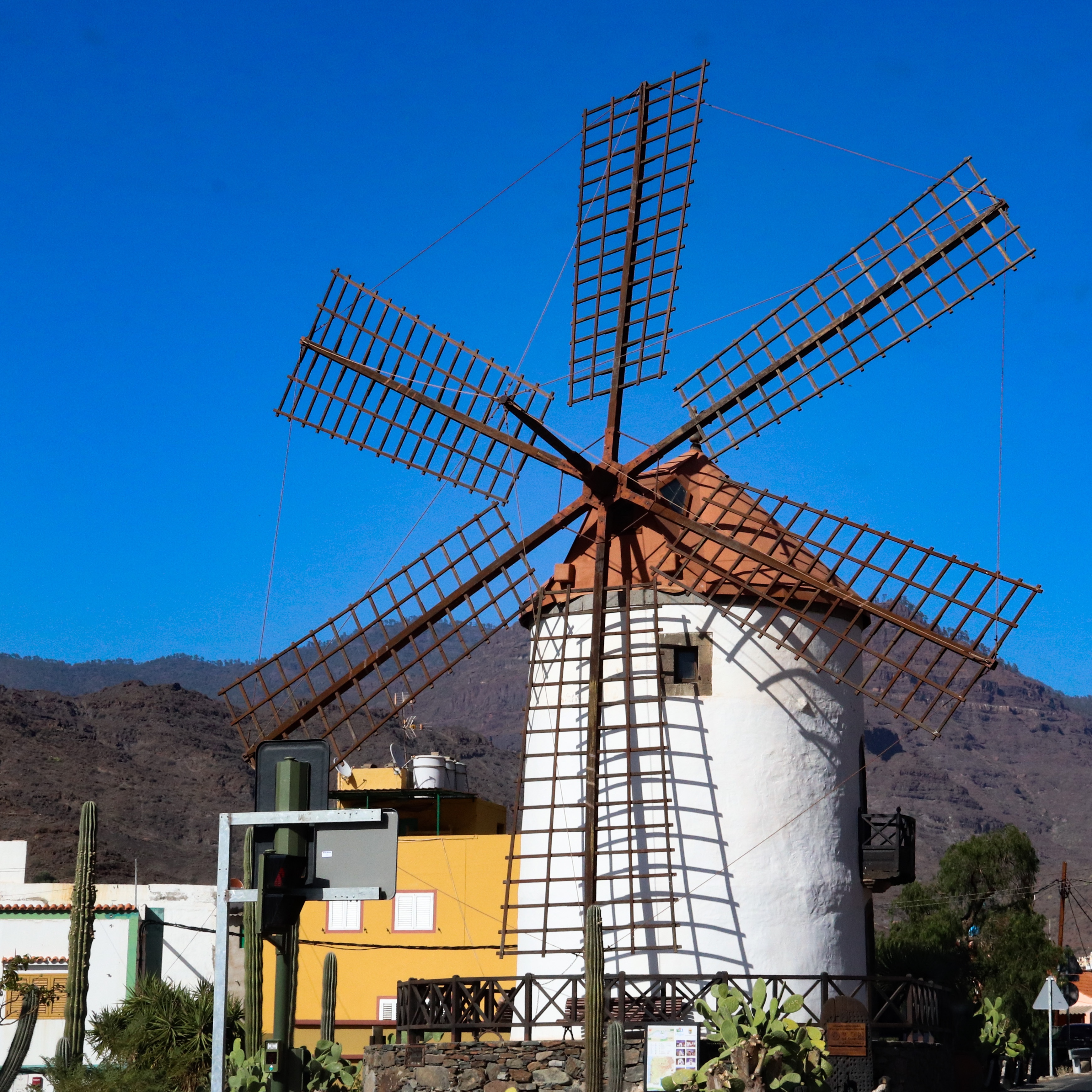 A traditional canarian windmill on the outskirts of Mogan.