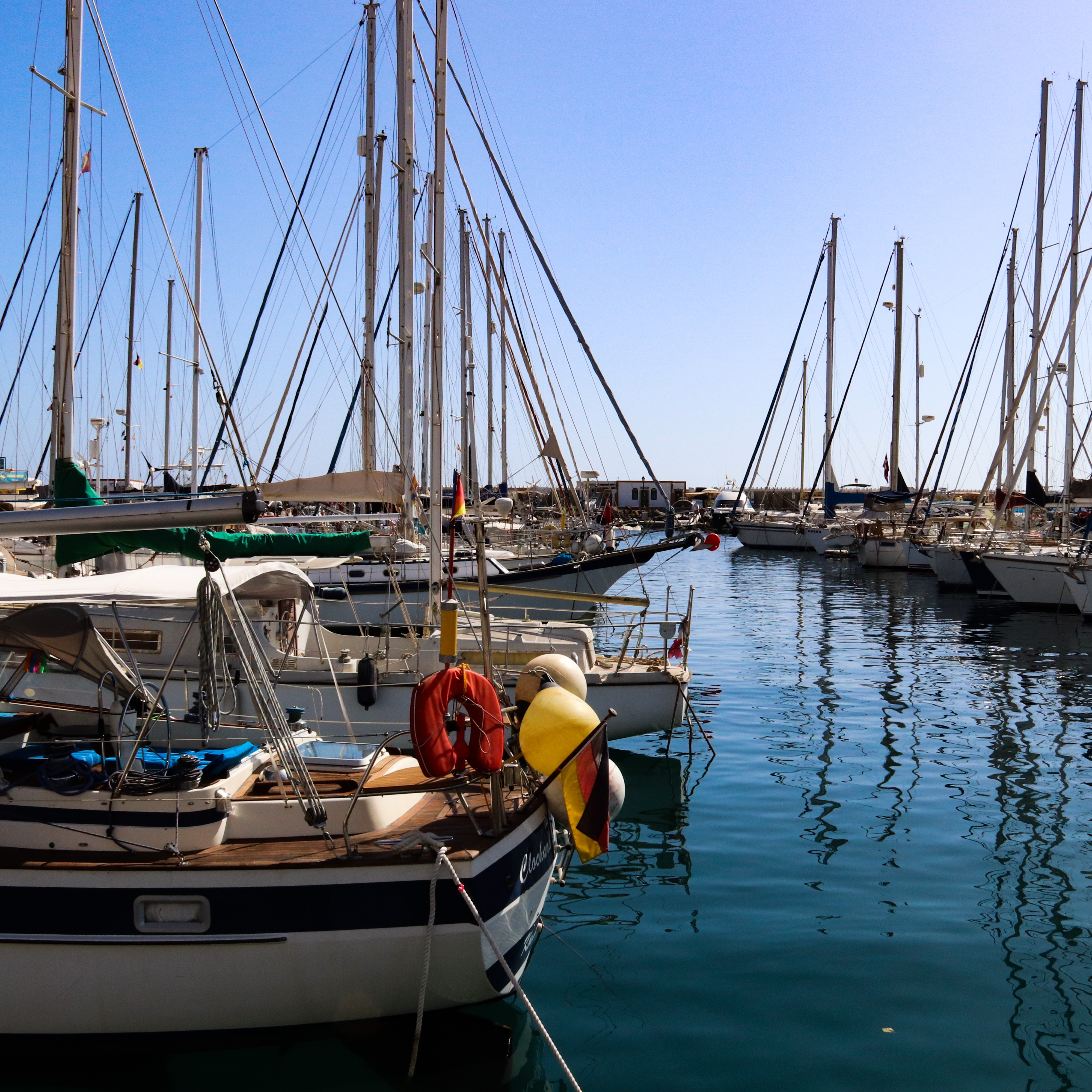 Yachts inside the Marino of Peurto de Mogan, Gran Canaria.
