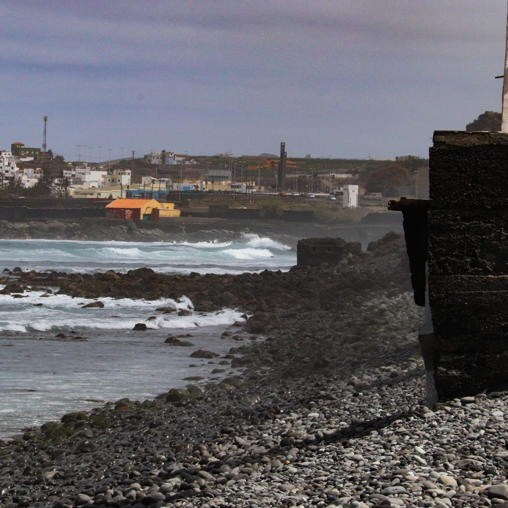 The north coast of Gran Canaria. Harsh waves crashing against beaches of blackned volcanic rock.