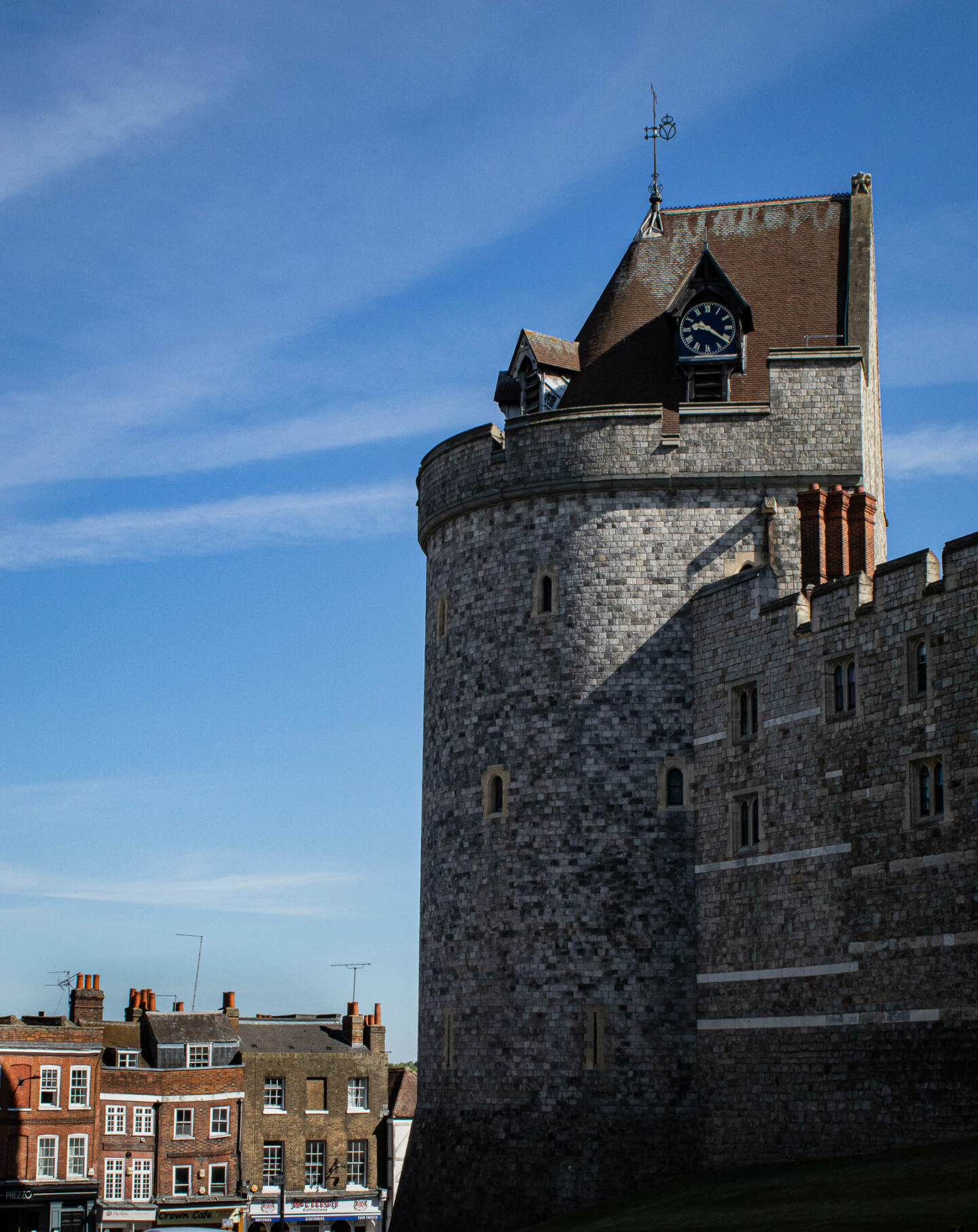 The curfew tower of Windsor Castle which looks over Thames Street - one of the prettiest streets in Windsor