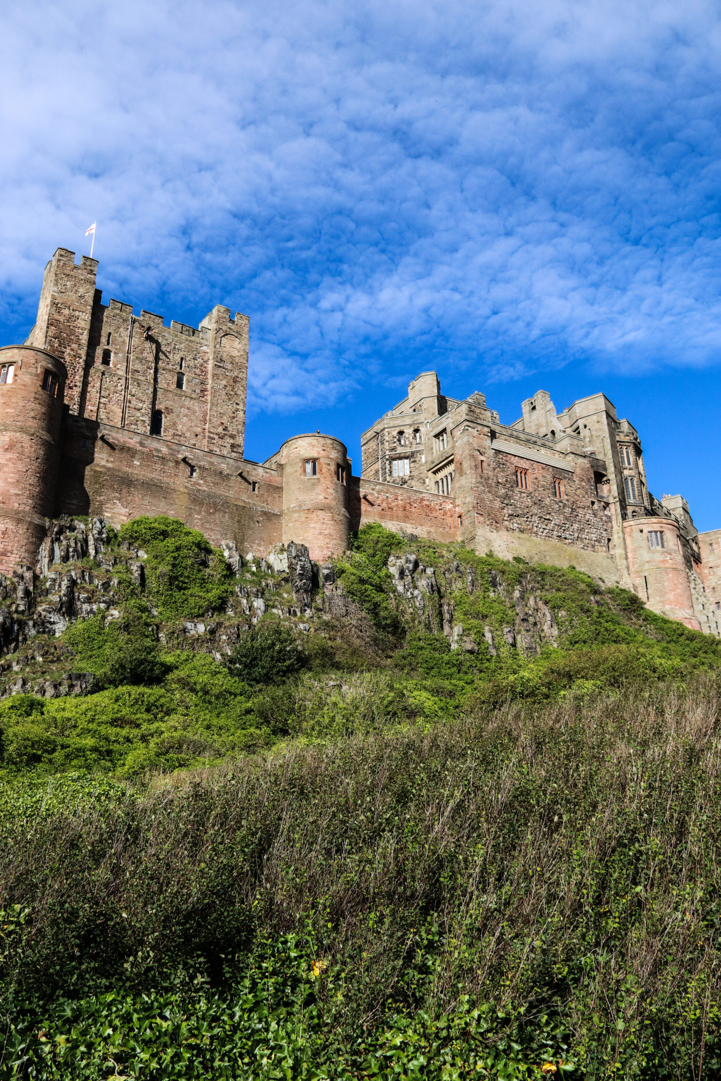 A view of Bamburgh Castle from below.