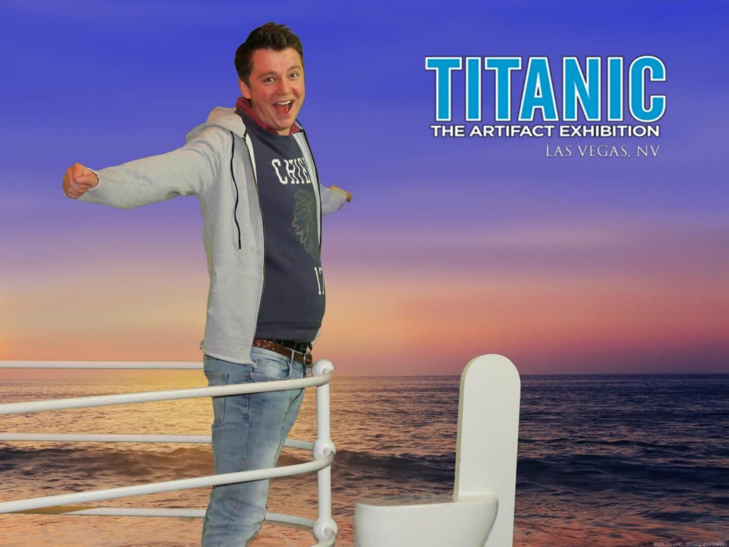 Me replicating a famous movie scene at the Titanic Artifact Exhibition in the Luxor Hotel.