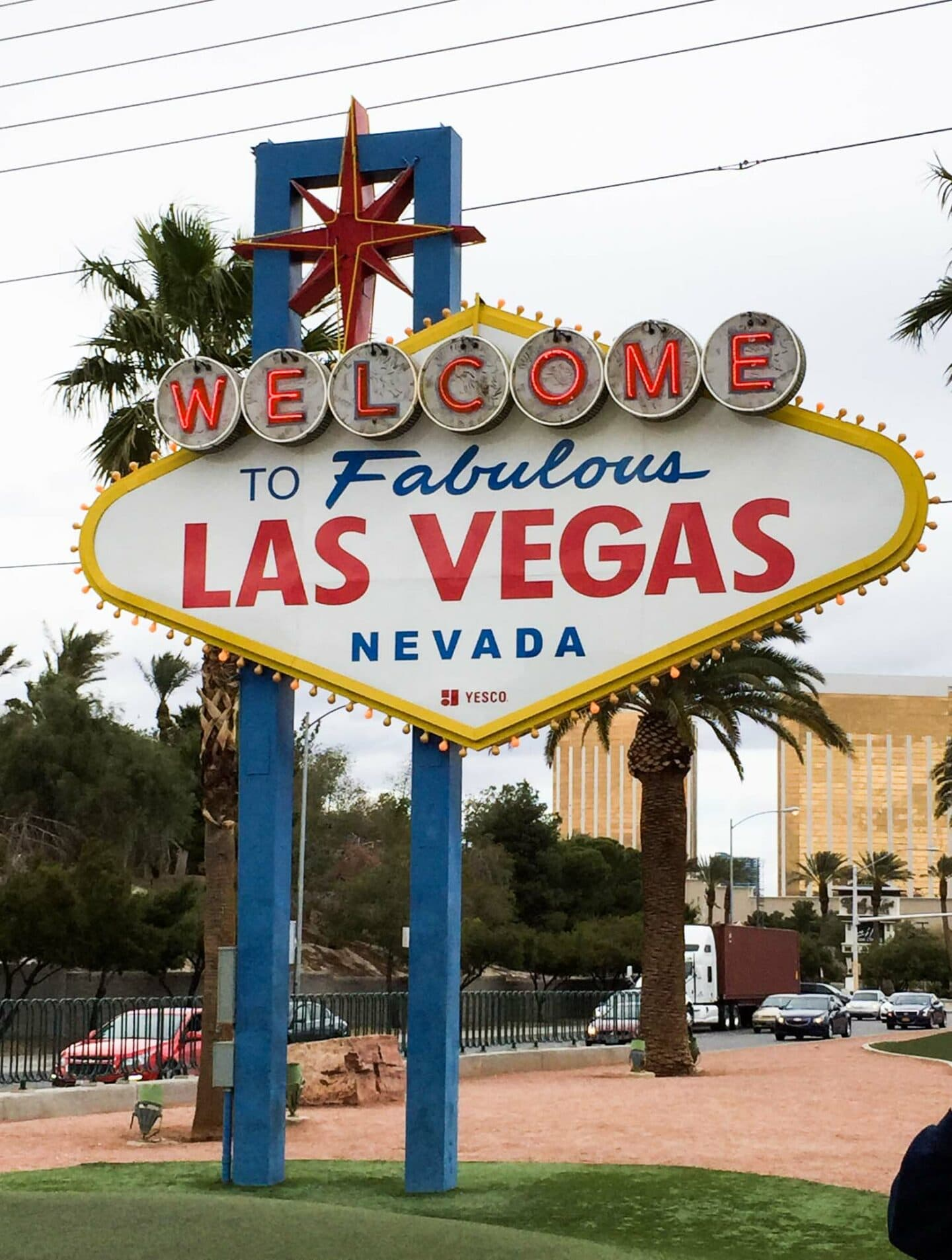The famous Las Vegas sign is a short drive from the main action on the strip.