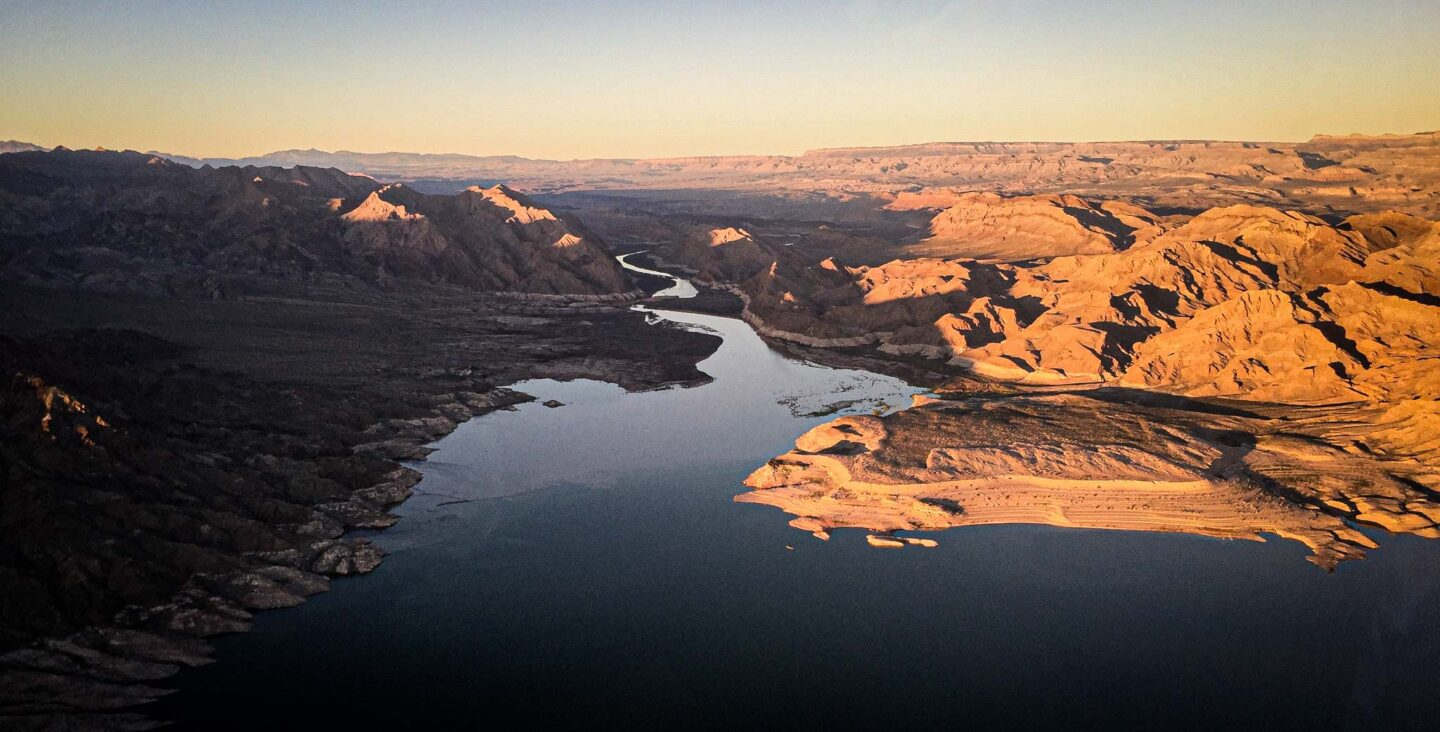 A view of Lake Mead from a helicopter.
