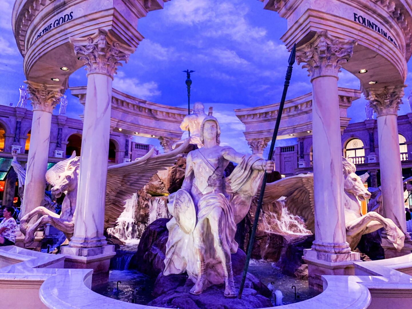 Inside the Forum Shops, the mall is designed to look like a roman ruin.