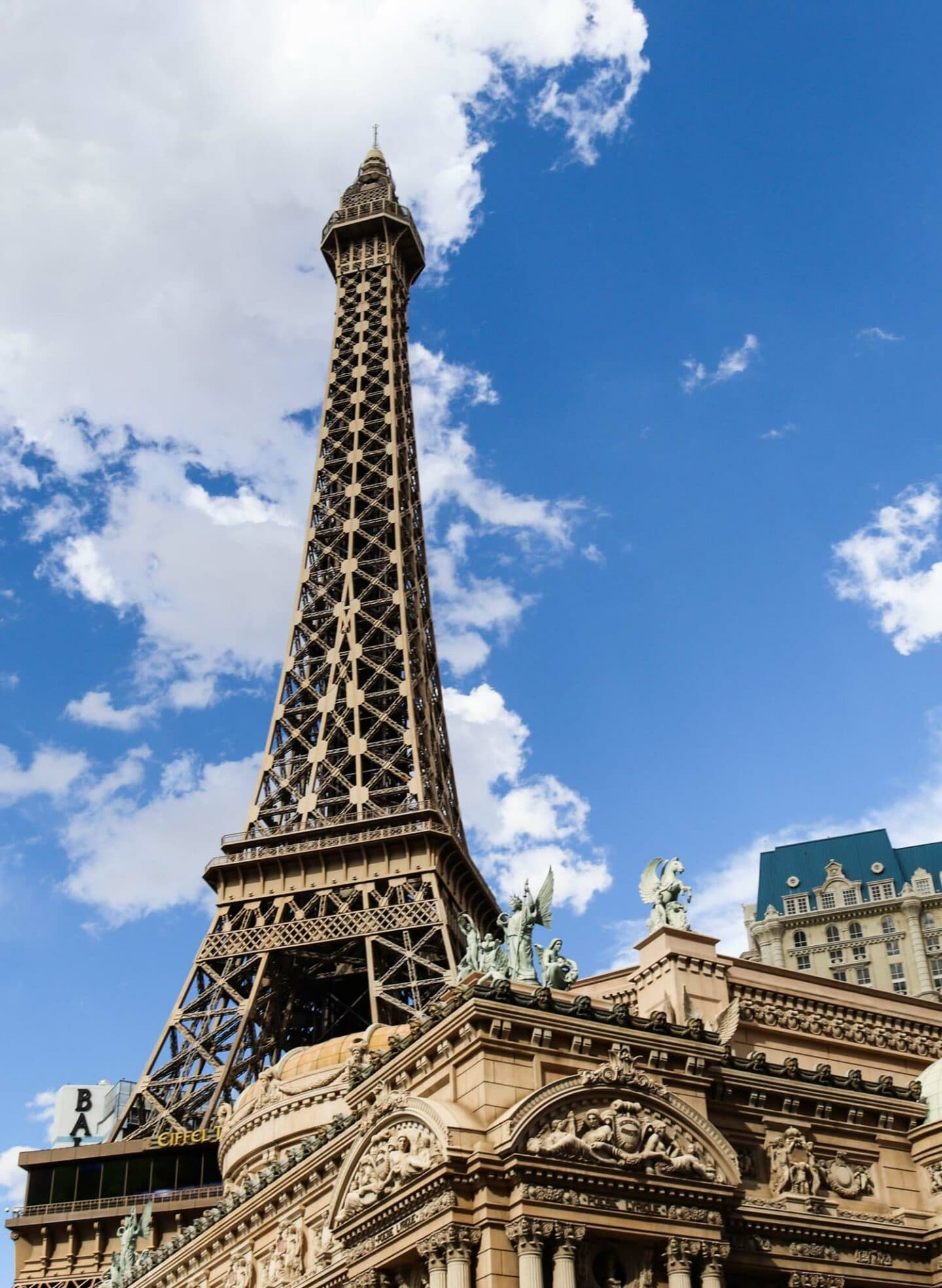 The replica of the Eiffel Tower outside the Paris Hotel.