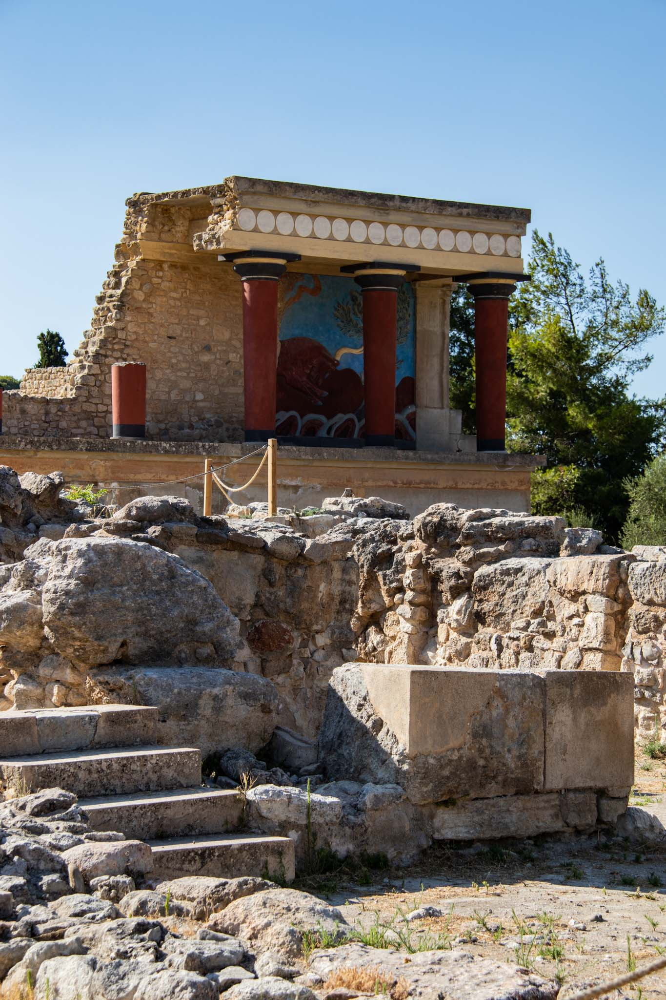 A view over the Palace of Knossos,  in Greece.