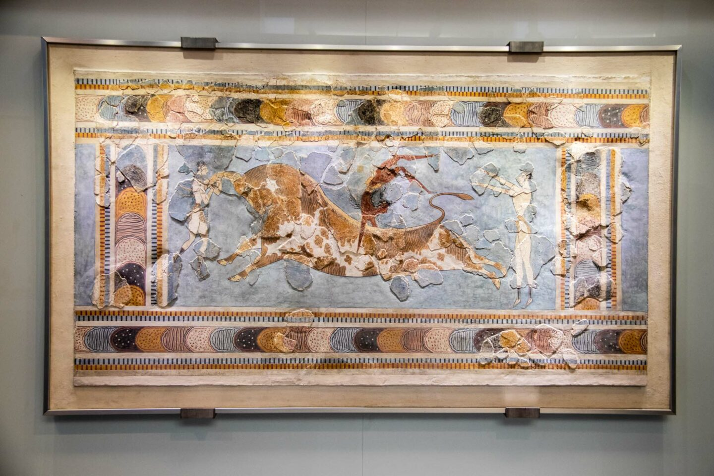 A surviving fresco from the palace of Knossos, depicting the sport of bull jumping. Now on display in the Heraklion Archaeological Museum.
