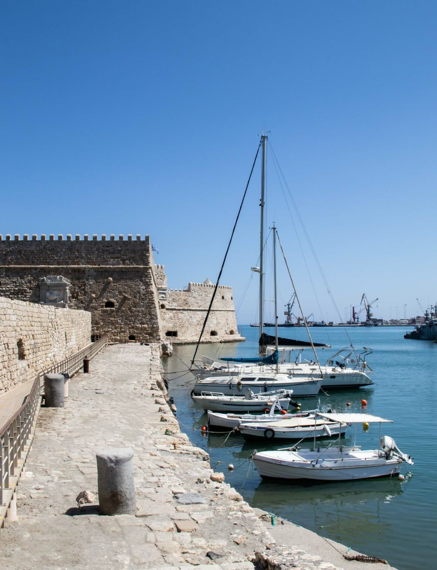 The Koules fortress guards Heraklion from sea attack. It's a fortification on a short pier. There are yachts and fishing boats inside the harbour created by the fortifications.