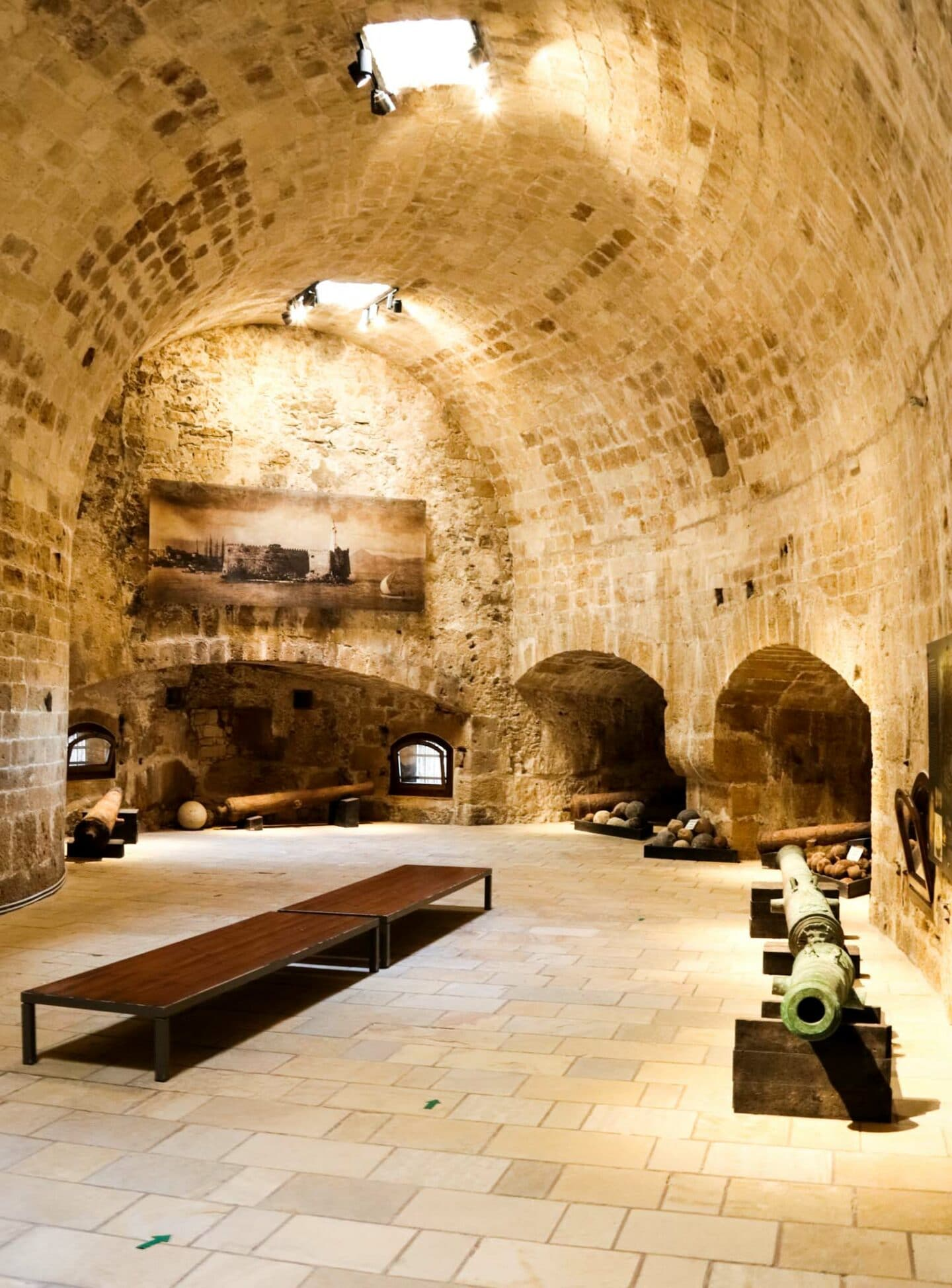 Inside the Koules Fortress. The fort is home to exhibits on the Venetian occupation of Heraklion with canons and canon balls which were recovered from the ocean.