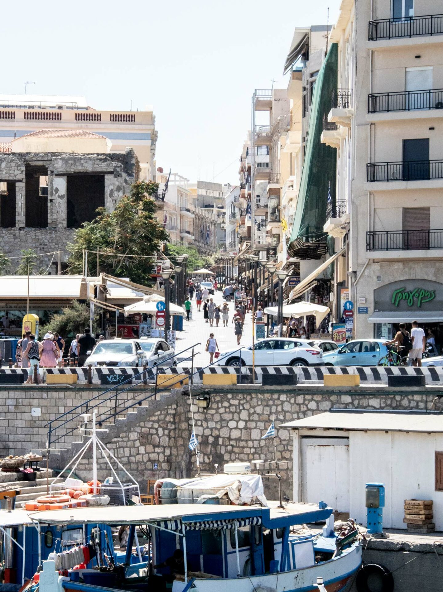 A view of August 25th Street from Heraklion Harbour.