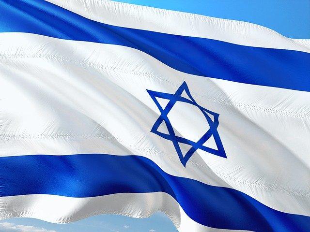 Israeli flag fluttering in the wind