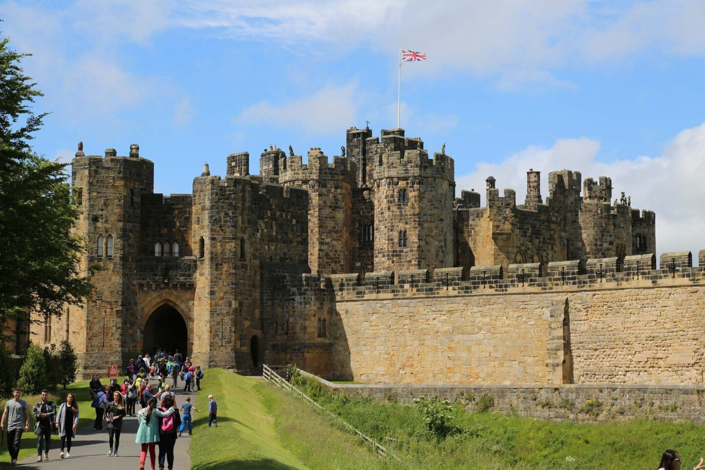The entrance of Alnwick Castle, the largest castle in Northumberland
