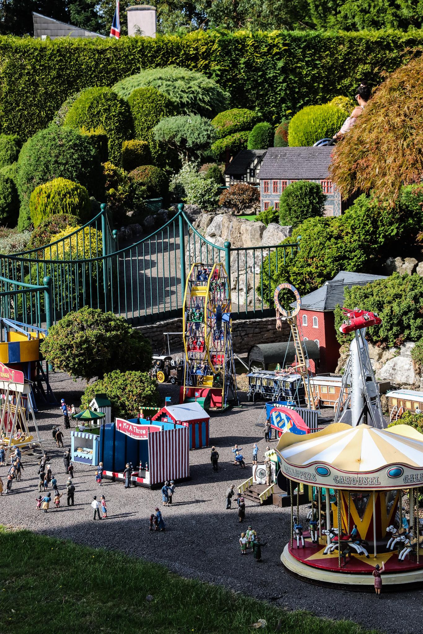 A view of a miniature funfair inside the  model village.