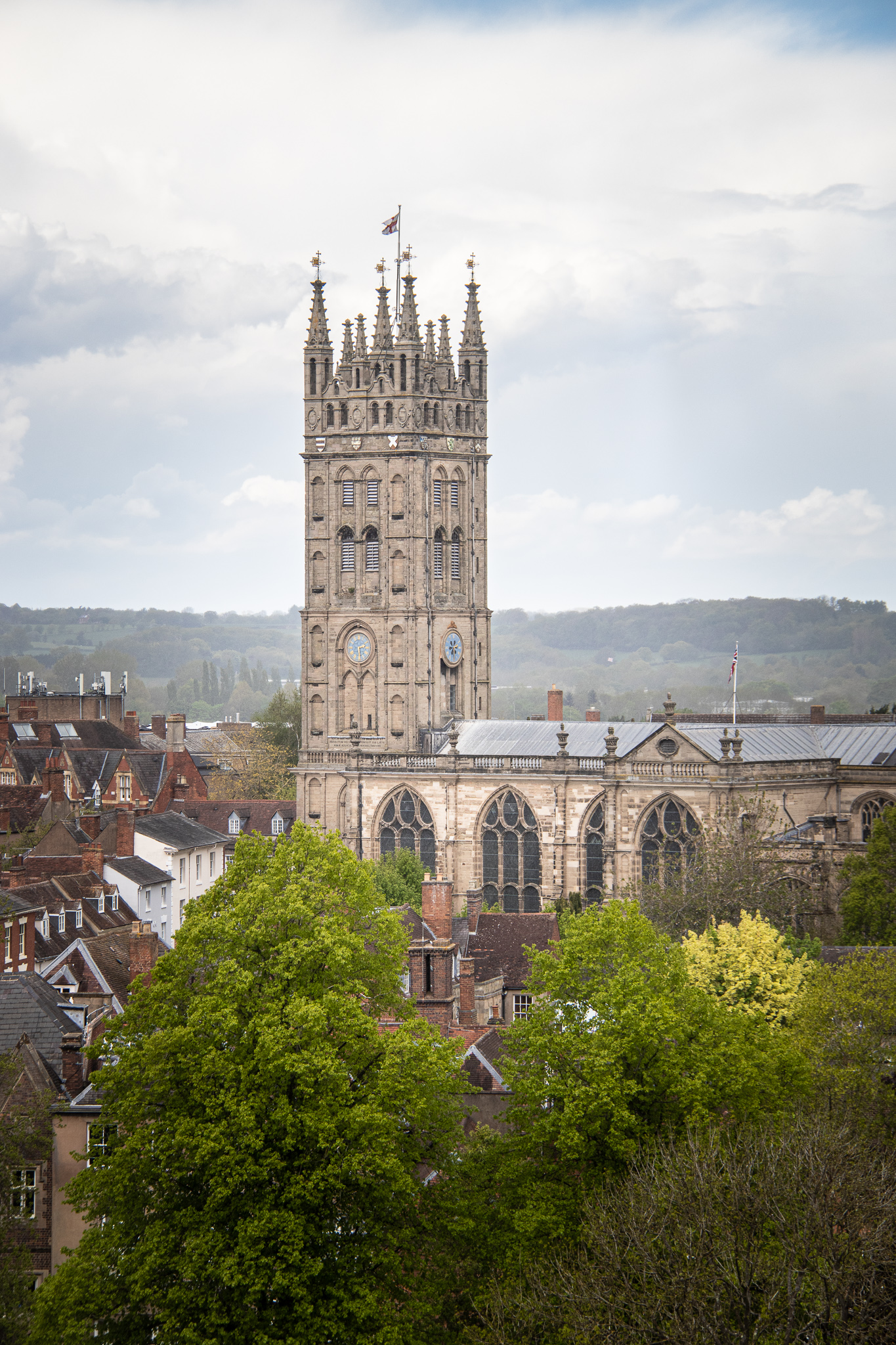 The Collegiate Church of St Mary's viewed from Guy's Tower at the Castle.