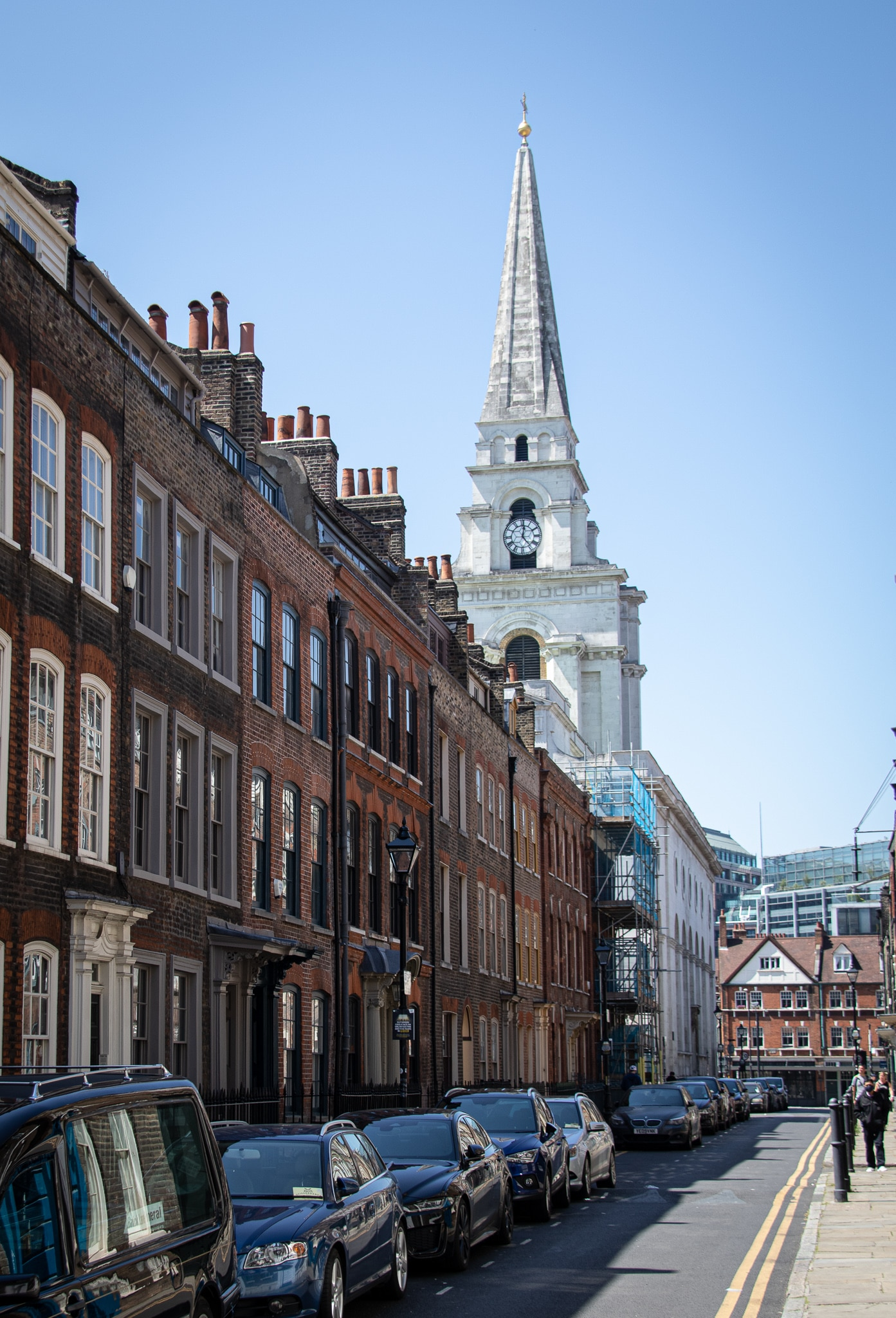 Christ Church in Spitalfields towers over the 19th century brick housing in the streets close to Brick Lane.